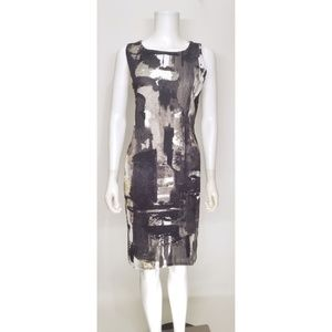 H & M Black and White Abstract Dress Size Large